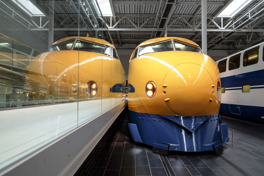 Dr.Yellow bullet train Railroad Track Shinkansen Architecture Built Structure Bullet Train Day Indoors  No People Public Transportation Railway Train Engine Transportation Yellow