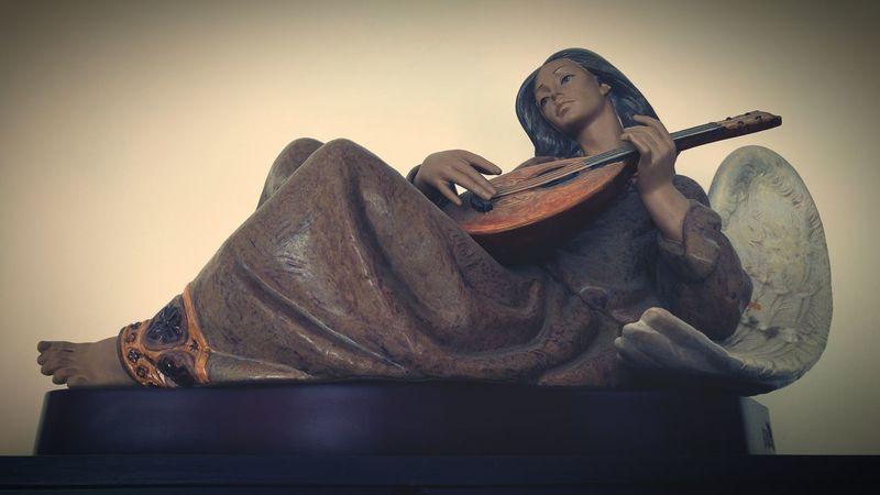 Porcelain Doll Porcelan Sculpture Art ArtWork Angel Playing Music Wings Mandolin Woman Flying Creativity Taking Photos