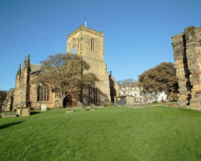 Architecture Grass History Green Color Religion Travel Destinations Clock Tower Built Structure Building Exterior Clock No People Day Clear Sky Tree Sky Outdoors St. Mary's Church Scarborough Yorkshire Yorkshire Coast Architecture