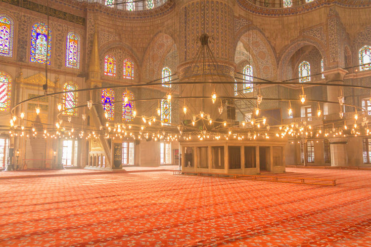 Inside Blue Mosque in Istanbul Istanbul Istanbul Turkey ıstanbul Istanbul City Blue Mosque Inside Blue Mosque Inside Architecture Illuminated Built Structure Building Exterior Building City Travel Destinations Night Religion The Past History Lighting Equipment No People Place Of Worship Decoration Spirituality Outdoors Ornate Electric Lamp Luxury