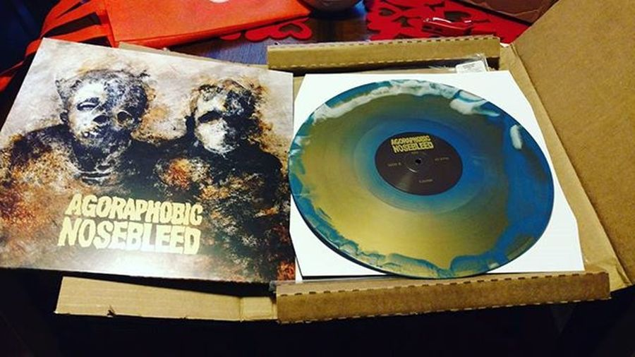 """New """"Arc"""" album from @anbofficial in White/Blue/Gold limited to 200. This album is phenomenal. Metal Vinyl Vinylcollection Abr Doom Stoner Sludge Grind Agoraphobicnosebleed"""