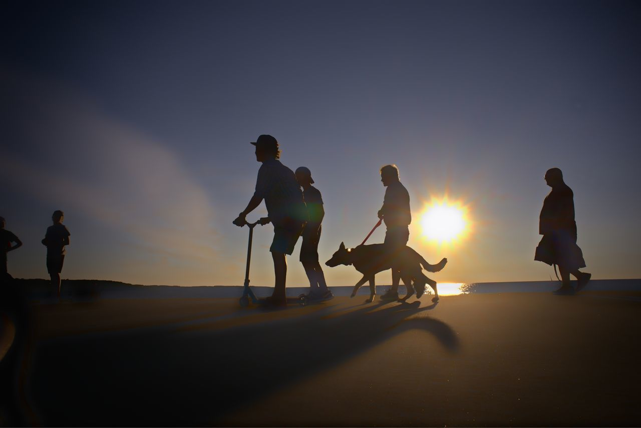 silhouette, sunset, full length, real people, sky, beach, leisure activity, vacations, men, nature, horseback riding, sand, sea, outdoors, lifestyles, domestic animals, togetherness, friendship, mammal, day, people