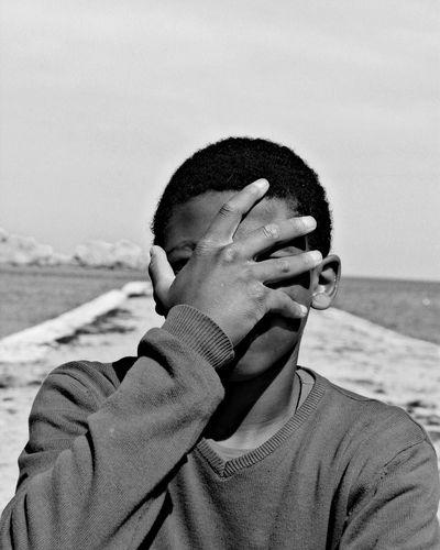Beach Only Men One Person Headshot Front View Outdoors Real People Blackandwhite Black And White Black & White Portrait Sardegna La Maddalena Italy Monochrome Boy Fresh On Market 2017