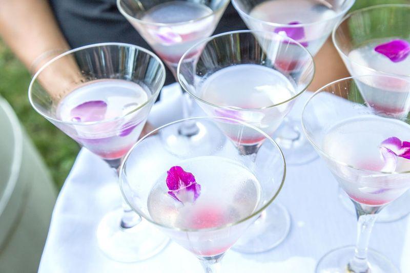 High Angle View Of Martini Glasses On Table