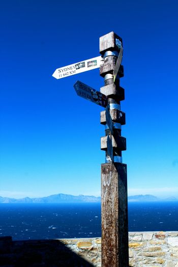 Cape Point Cape Point Cape Point View Cape Point South Africa  Cape Point Road Sign Clear Sky Blue Astrology Sign Direction Guidance Weather Vane Sky Close-up