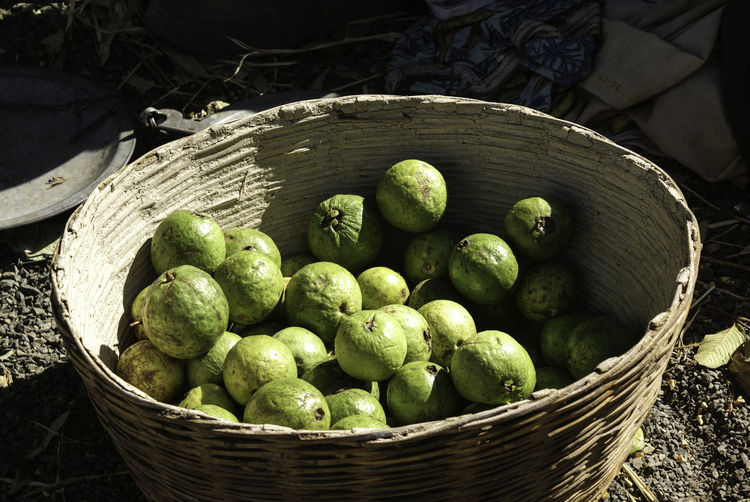 High angle view of guavas in basket