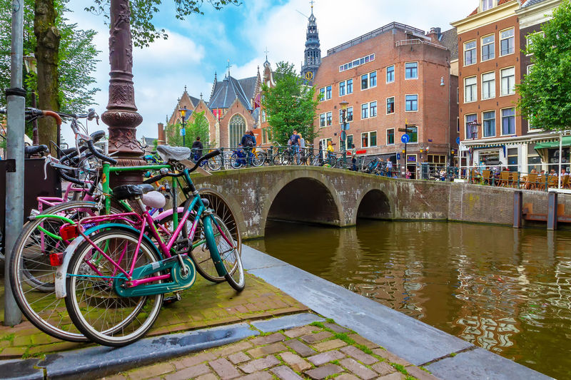 Bicycles in Amsterdam Amsterdam Netherlands Canal Gracht City Travel Tourism Water Green Destination Vacations Spring Summer Bridge Architecture Nature Nature Traveling Sightseeing Bicycle Bike Cycling Cheerful Lifestyles Dutch