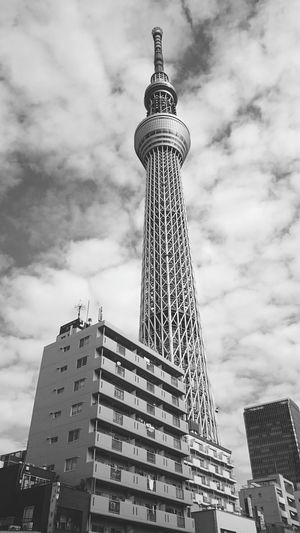 Tower Building Exterior Architecture Built Structure Tall - High City Low Angle View Sky Modern Cloud - Sky City Life Town Monochrome Photography SkyTreeTower Skytree Skytreetokyo