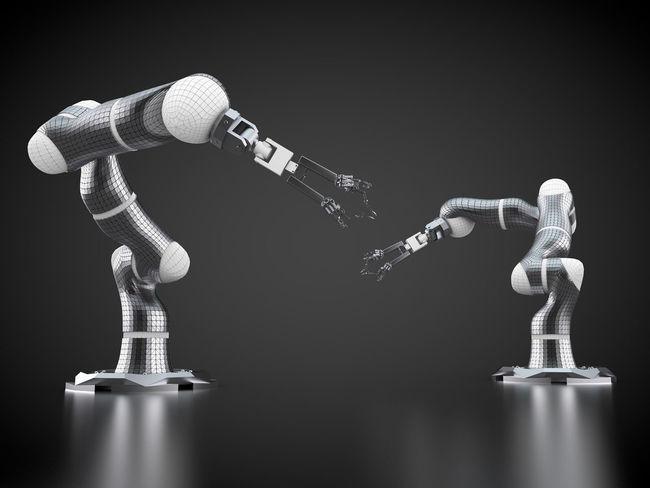 3D rendering: robotic arms on black background 3D 3d Rendering Black Background Industrial Industry Rendering Robot Robotic Arm Robotic Arms Robotics Robots Tech Technic Technical Technological Technology