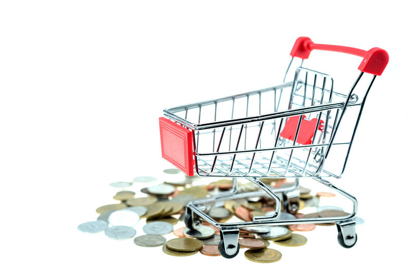 Buying Close-up Consumerism Copy Space Customer  Cut Out E-commerce Finance Retail  Shopping Basket Shopping Cart Store Studio Shot Supermarket White Background