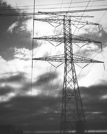 Electricity  Power Line  Street Photography Shades Of Sky Sky Cloudy Day Light And Shadow Black & White Blackandwhite Photography Black And White Collection  Cloud_collection