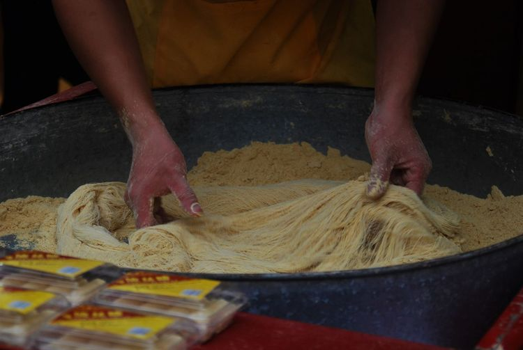 China Food Hands Noodles Preparation  Streetfood Traditional Working Yangshuo