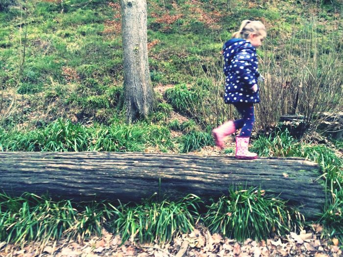 Woods Taking Photos Cousin Logs Balancing Child So Cute Walking Landscape