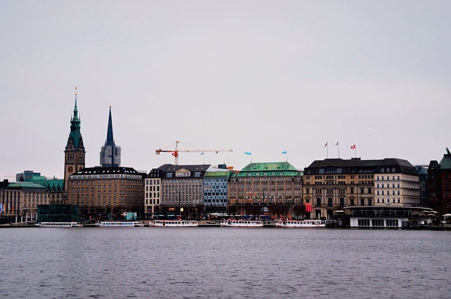 Hamburg skyline Building Exterior Architecture Travel Destinations Built Structure Water Tourism City Outdoors Sky No People Day Cityscape Alster Hamburg Alster View Rathaus Townhall Hamburg Lake Lake View Water City Urban