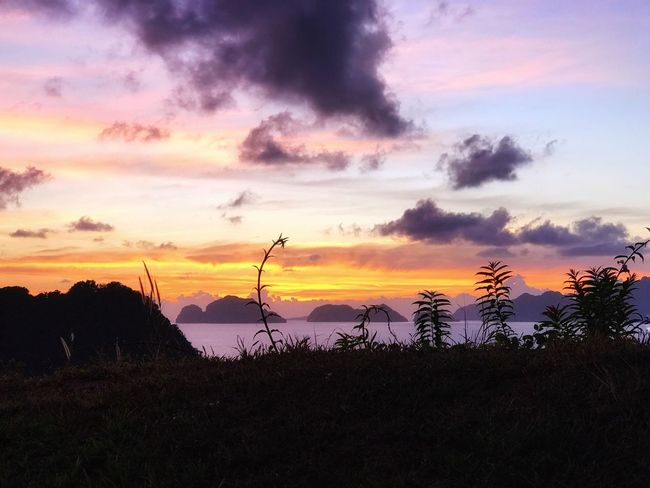 A postcard from memory... Sunset Nature Beauty In Nature Tranquil Scene Scenics Sky Silhouette Tranquility Cloud - Sky Orange Color Growth Dramatic Sky Sunset_collection EyeEm Nature Lover EyeEm Best Shots Eyeem Philippines EyeEm Masterclass Landscape El Nido Travel Destinations EyeEm Gallery Eye4photography  Travel Photography