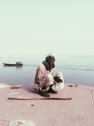 Old Man India River Ganga Varanasi