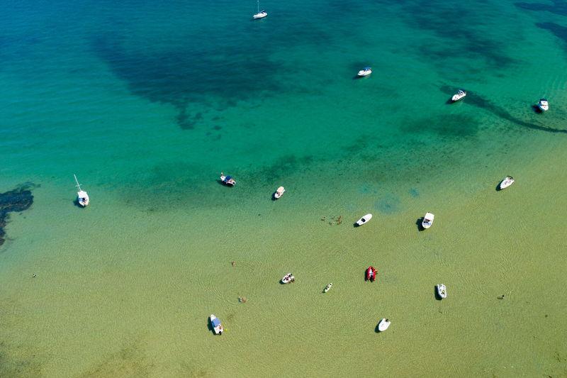 High angle view of people on sea