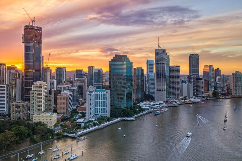 Aerial Sunset at Brisbane City, Australia. High Angle View Drone  Aerial Shot Brisbane EyeEm City Shots Australia EyeEm Best Shots Architecture Building Exterior Building City Built Structure Office Building Exterior Skyscraper Sky Cityscape Tall - High Tower Urban Skyline Modern Office Landscape Residential District Sunset