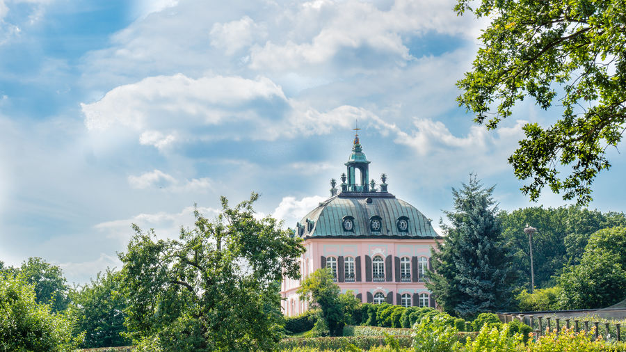 Fasanenschlößchen, Moritzburg bei Dresden Architecture Beauty In Nature Built Structure Church Cloud Cloud - Sky Cloudy Day Eye4photography  From My Point Of View Green Color Growth High Section Low Angle View Lush Foliage Nature No People Outdoors Place Of Worship Religion Sky Spirituality Tree