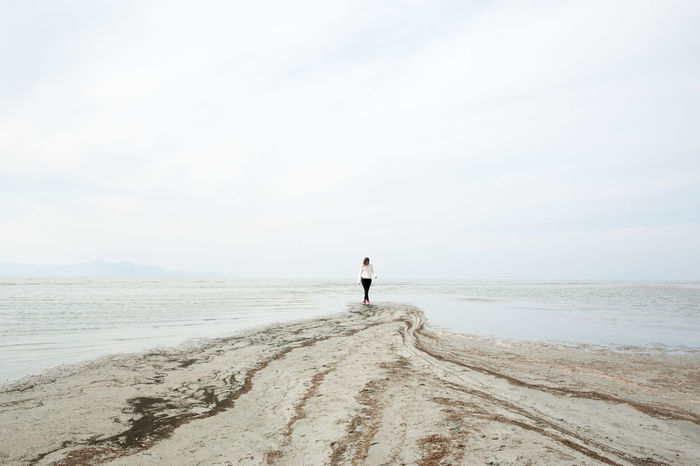 Desolate Empty Places Exploring Great Salt Lake Shoreline Utah Beach Great Salt Lake Horizon Over Water Lake Nature One Person Outdoors Salt Lake Sand Tranquil Scene