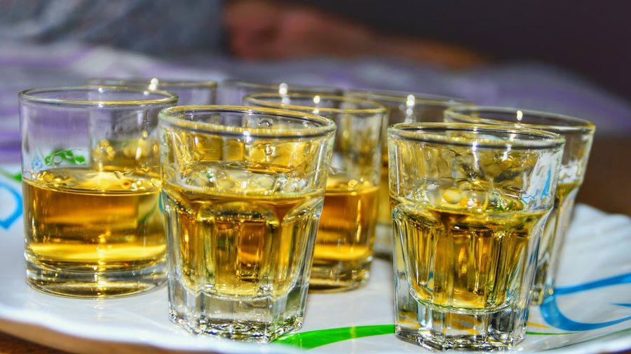 Close-up of tequila shots