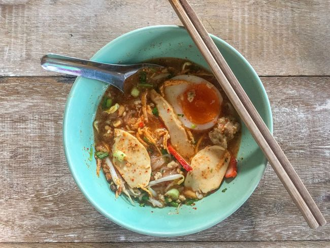 Thai food: Tom yum noodles with pork and egg Pork Egg Spicy Food Soup Noodles Tom Yum Thai Food Food And Drink Food Healthy Eating Freshness Kitchen Utensil Bowl Ready-to-eat Wellbeing Table Eating Utensil Spoon Soup Chopsticks Directly Above Serving Size Still Life High Angle View Indoors
