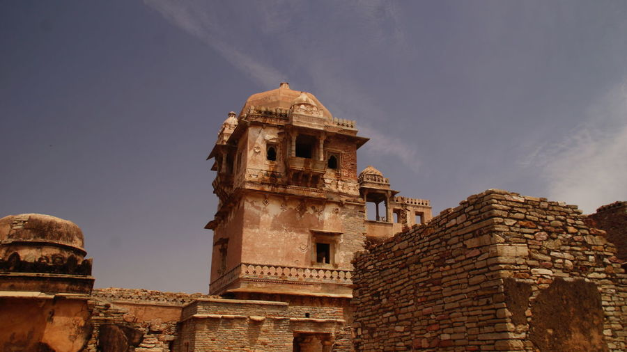 Low angle view of historic kumbha palace against sky
