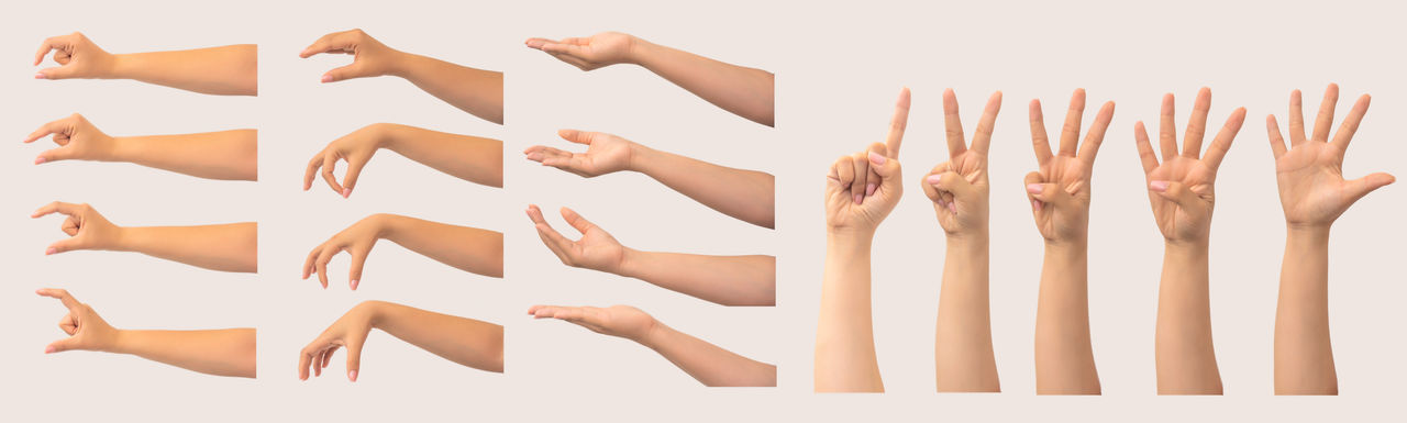 Digital composite image of hands against white background