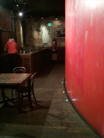 SAMSUNG GALAXY S1 Absence Atmospheric Mood Empty Illuminated Narrow PEOPLE LOOKING AWAY Red Theater THEATRE BAR