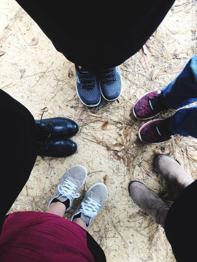 Low Section Shoe Human Leg Real People Personal Perspective Standing High Angle View Lifestyles Human Body Part Leisure Activity Outdoors Friendship