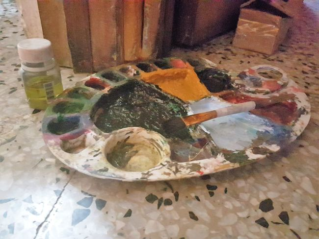 Artist Tools Artistic Close-up Day High Angle View Indoors  No People Paintbrush Painting Pintura Table óleo