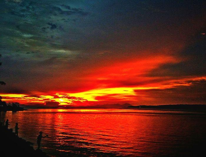 Sunset Oranye Color Water Beauty In Nature Kota Mara, Baubau