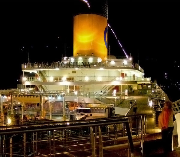 Cruise ship Costa Fortuna at night, dressed overall Alone Black Black & White Bright Calm Gaze Calm Night Celebration Chrome Cruise Ship Funnel Gazing Illuminated Magic Lights Night Lights Pinpoint Rapture Reflected Sparkle Romance Shipboard Soft Night Sparkling Tourism Twinkling Lights White Yellow