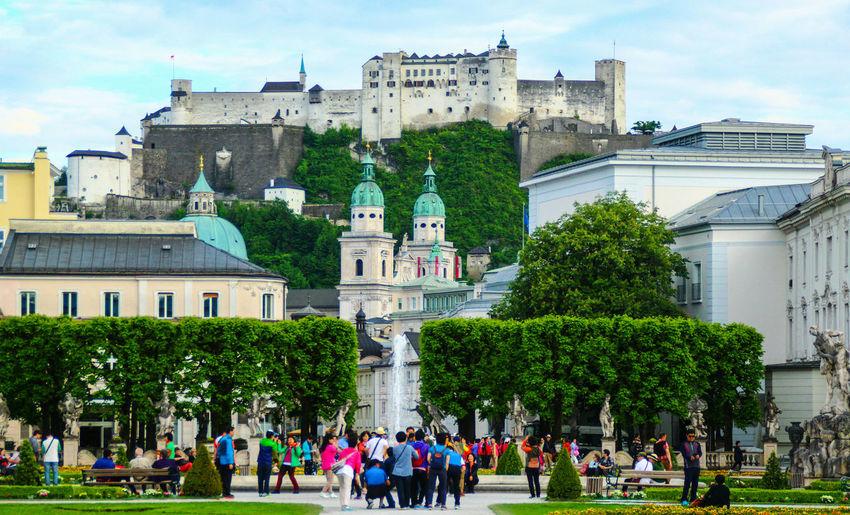 Austria Castle Europe Europe Trip Famous Place Large Group Of People Salzburg Tourism Tourist Travel Destinations