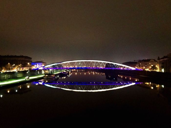 Night Illuminated Architecture Connection Bridge - Man Made Structure Built Structure Outdoors City Transportation Building Exterior Vistula River Bridgeonthevistula Poland Krakow Vistola Night Lights Arts Culture And Entertainment Water Travel Destinations Clear Sky No People Sky Cityscape