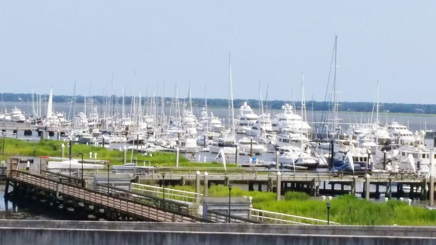 Downtown charleston, SC. Heading to the beach. Charleston SC Bridge Beach Boats Docked No Filter Capture The Moment Beauty Peaceful Ocean