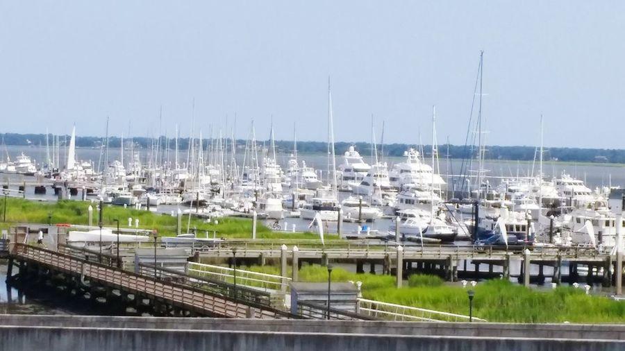 Downtown charleston, SC. Heading to the beach. Charleston SC Bridge Beach Boats Docked No Filter Capture The Moment Beauty Peaceful Ocean