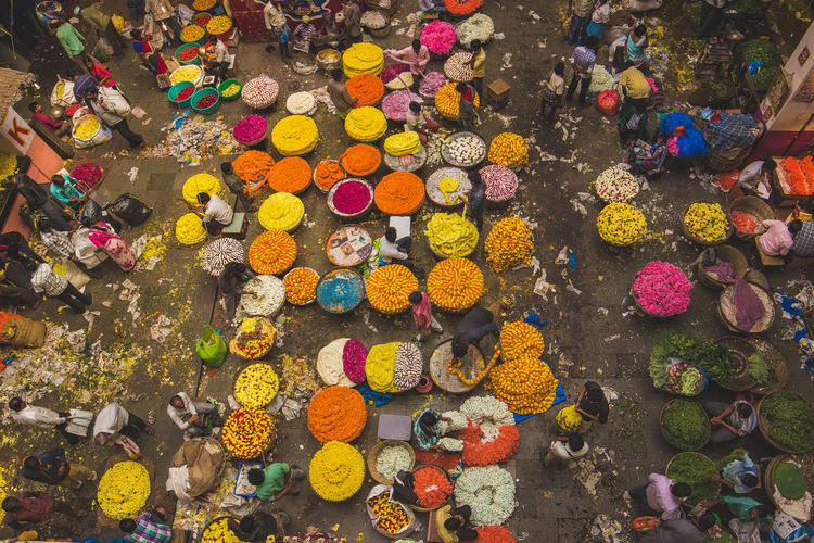 High angle view of multi colored flower for sale in market
