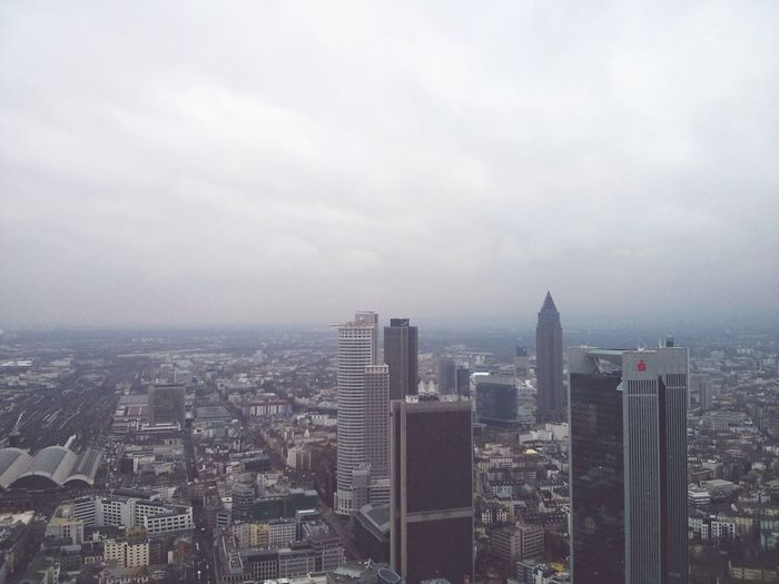 Frankfurt Am Main. · Frankfurt Germany Main Tower View Cityscape Skyscrapers Highrises Winter Clouds And Sky