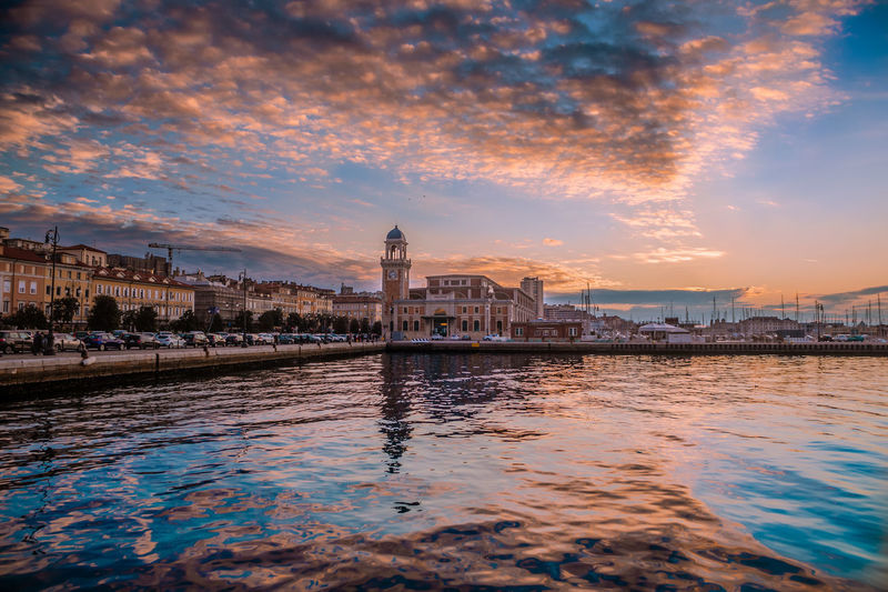 Trieste coloured by sunset lights Seascape Blue Sea Sky Lights Italy Colorful Colors Trieste City Cityscape Urban Skyline Water Sunset Illuminated Ferris Wheel Bridge - Man Made Structure Reflection Premiere My Best Photo