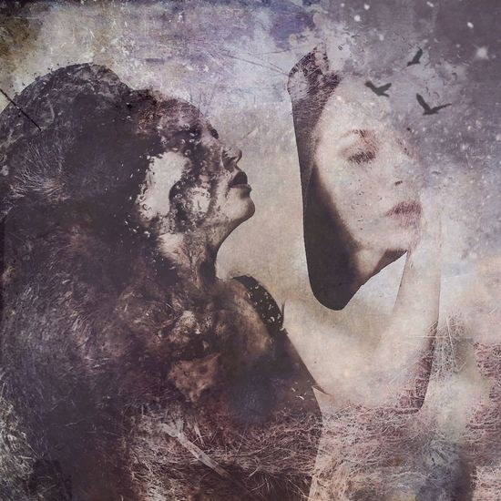 Digital composite image of man and woman painting on wall