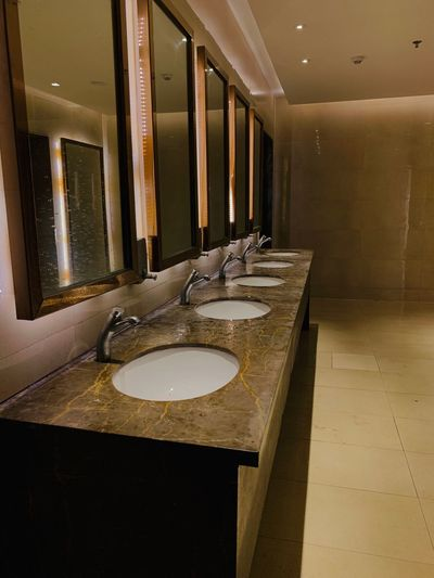 Washroom Indoors  Table No People Seat Architecture Absence Household Equipment Wood - Material Reflection Mirror Built Structure Bathroom Flooring Luxury Furniture