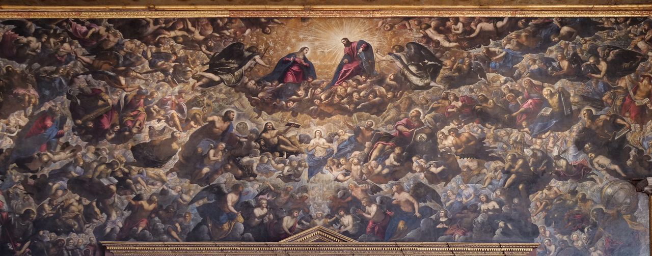 Venezia Italy Palazzo Ducale Doge Palace Tintoretto Painting Interior Design Full Frame Backgrounds
