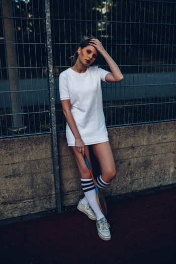 Chilling Fashion Hanging Out Millenials Old School Stairs Tennis Woman Youth Blonde Girl Headband Hobbies Kneesocks Model Nineties Portrait Socks Sport Sports Sports Clothing Tenniscourt Urban Walking Young Adult Youth Culture