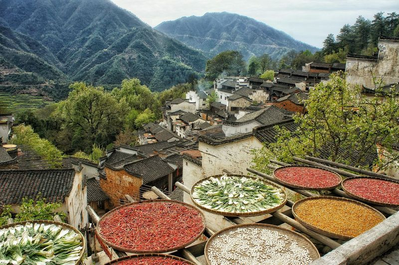 Spices And Pulses On Roof
