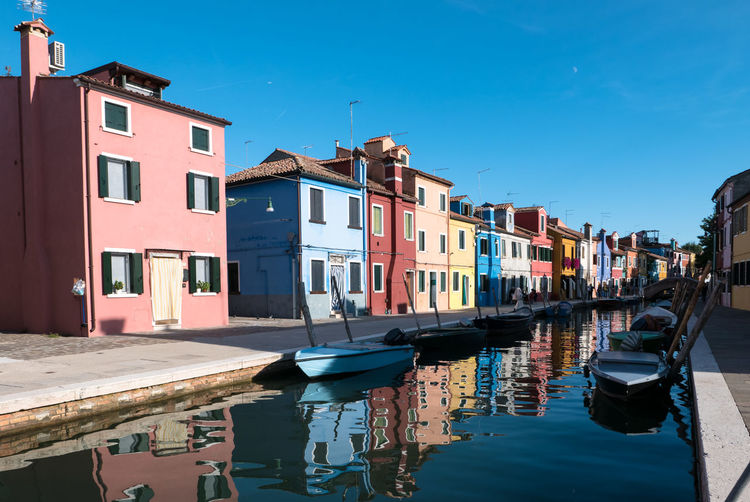 Architecture Building Building Exterior Built Structure Canal City Clear Sky Day Mode Of Transportation Moored Nature Nautical Vessel No People Outdoors Reflection Residential District Row House Sky Transportation Water Waterfront Wooden Post