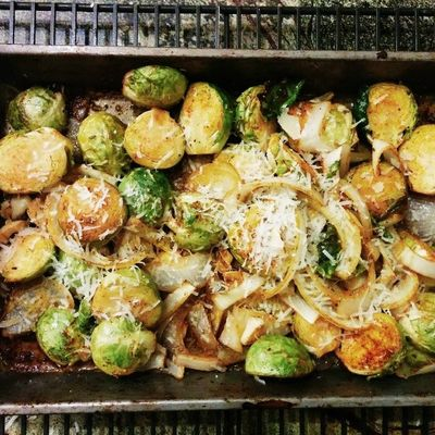 Roasted Brussel sprouts w parm.