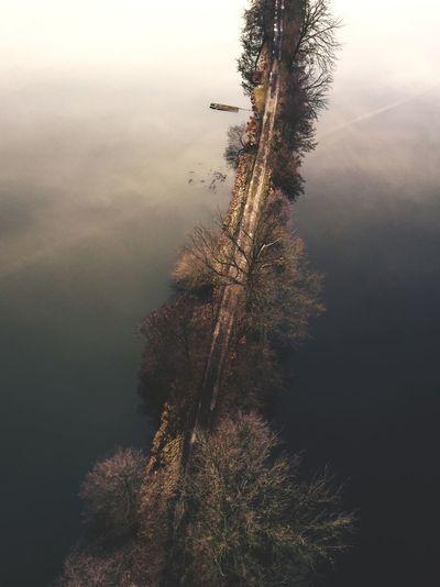 #likeabird Drone  Dronephotography Birdview Flood Street Dji Djimavic Mood Photography Lake No People Outdoors Tree Nature Water Sky Day