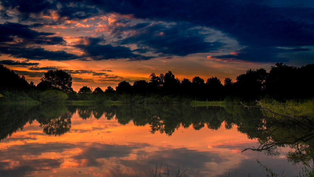 Beauty In Nature Cloud - Sky Day Lake Nature No People Orange Color Outdoors Reflection Scenics Sky Standing Water Sunset Tranquil Scene Tranquility Tree Water Waterfront