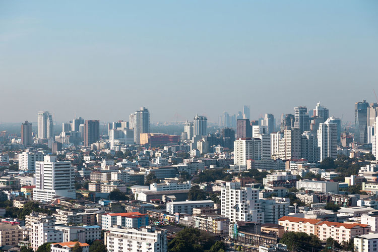 Top view of landscape with cityscape view on building, landscape city in urban life of bangkok